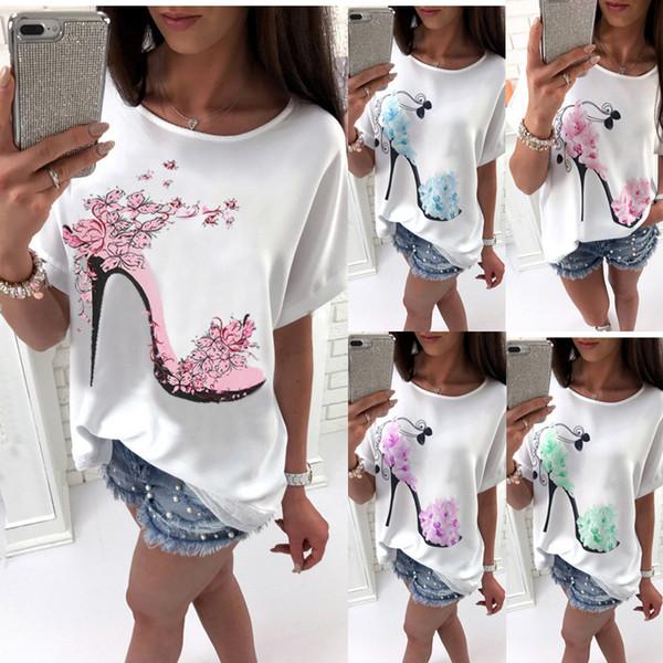 Alta calidad Camiseta blanca de las mujeres Tops Moda zapatos de tacón alto Carta Imprimir camiseta 2019 Camisas de las mujeres de verano de manga corta camiseta Femme