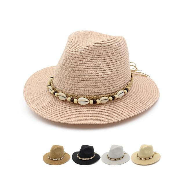 Yaz Şapka Kadınlar Için İngiltere Stil Geniş Ağız Hasır Şapka güneşlik Kabuk Boncuk Şapka Panama Seyahat Plaj Şapka kadın Strawhat