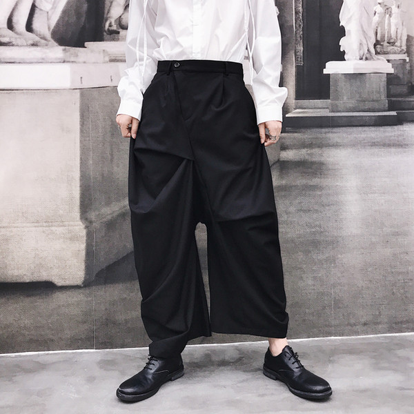 27-46 2019 nouveaux vêtements pour hommes coiffeur rue alternatif conception asymétrique sarouel occasionnel plus la taille costumes