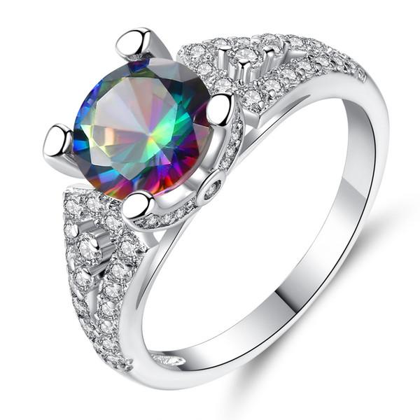 Luxury 4 claw full zircon colorful round zircon ring men and women