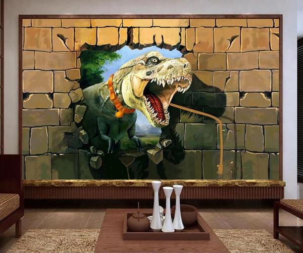 Acheter Taille Personnalisée 3d Photo Papier Peint Salon Murale Dinosaure Briser Mur Cave 3d Peinture Canapé Tv Fond Papier Peint Non Tissé Sticker De