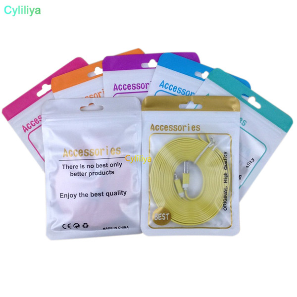 500pcs Android Apple mobile phone accessories packaging zipper bag with hang hole for earphone data cable charger adapter(hl)
