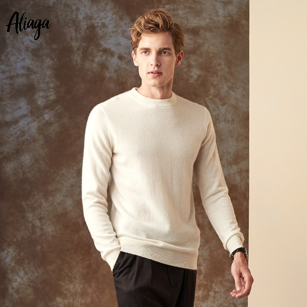 10 Colors 100% Goat Cashmere Sweater Men Pullovers Knitted Business Basic Crew Neck Autumn Soft Jumpers Oversized Knitwear Tops