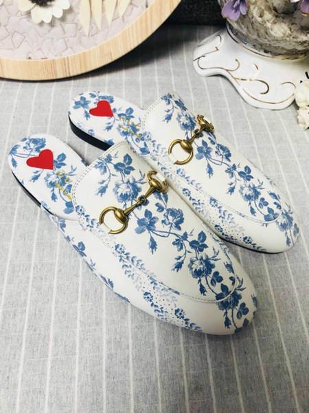 Mulheres Genuine Princetown Flora Impressão Chinelo de Lona, zr02 Designers Apartamentos Mulas Moda Ao Ar Livre Sandálias Coleção Primavera para Senhoras