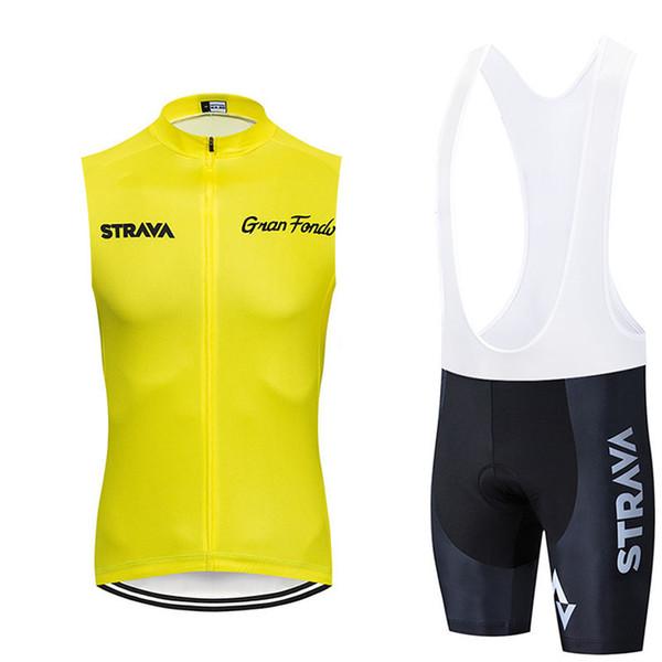 Strava 2019 camiseta sin mangas Jersey de ciclo del babero desgaste fijan Mountain Bike MTB Ropa Ropa desgaste de la bicicleta hombres que completan un conjunto