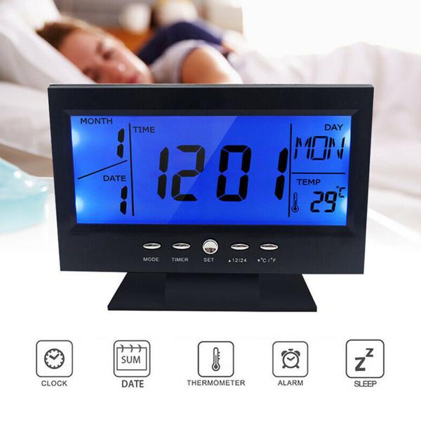Battery Operated Digital Alarm Clocks Backlight Snooze Date Temperature Display