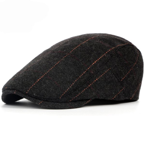 Free Shipping Wholesale Spring Winter Berets British Western Style Wool Advanced Flat Ivy Cap Classic Vintage Striped Beret Hat