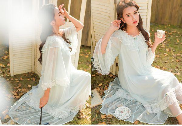 Camicie da notte maniche lunghe Abito lungo in pizzo Sleepshirts Abiti da notte Principessa Home Night Dress Abiti da donna