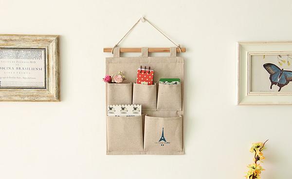 5 Pocket Linen Cotton Fabric Schedule Closet Hanging Storage Bag Case Over the Door/Wall Hanging Organizer Home Organzier Caddy Holder
