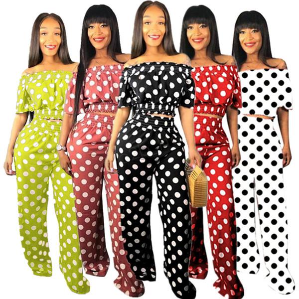 top popular Women Polka dot 2 piece set designer tracksuit off shoulder Tops summer short sleeve t-shirt casual pants fashion outfit LJJA2779 2019
