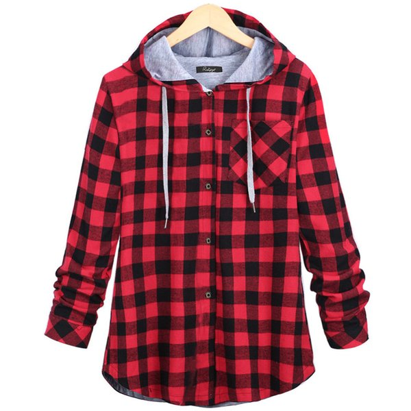 Moda Mujer Primavera Otoño Rojo algodón azul botón casual con capucha para niños de gran tamaño Escudo Camiseta de manga larga a cuadros sudaderas Plus 2XL