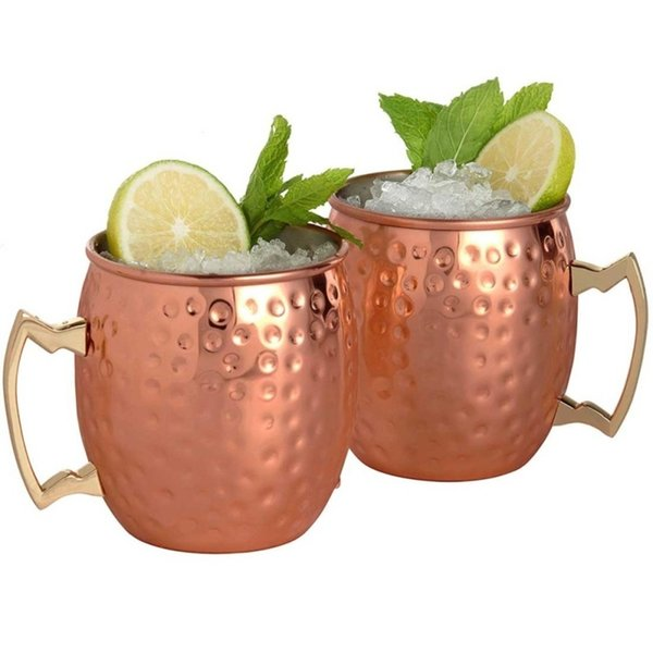 4pcs Moscow Mule Mug Stainless Steel Beer Whisky Cup Hammered Copper Plated Bar Drinkware 530ml 18Ounces C18112301