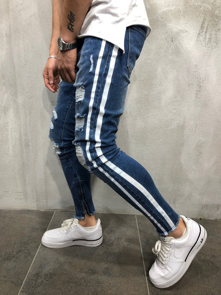 Designer Men Fashion Blue Stripe Jeans Slim Fit Denim Pants Long Hip Hop Trousers Size S-3XL