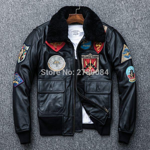 Gu.seemio veste en cuir véritable pour les hommes en peau de vache manteau mâle naturel véritable moto punk costume outwear turn-down col de fourrure