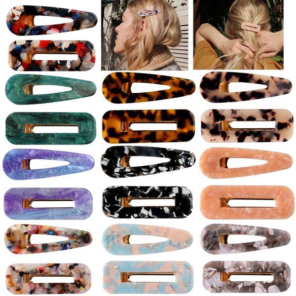 Акриловые Marble клип шаблон волос девушки Геометрическая Shaped BB зажим для волос ретро Барретт цвета конфеты Дизайнер Женщина Шпилька аксессуары HHA769