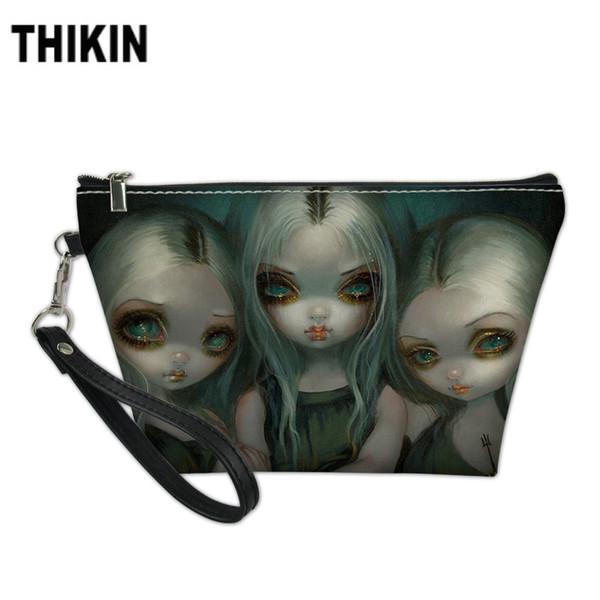 THIKIN Dark Style Girls Print Cosmetic Case for Girls Female Women Travel Toiletry Bags Ladies Portable Wash Kit Bag Custom