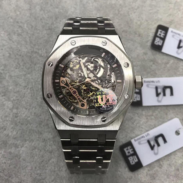 2019 New Arrived Automatic Mens Watch ROYAL OAK 15407ST.OO.1220ST.01 Series 41MM Skeleton Dial Multi-Color Mens Wristwatch