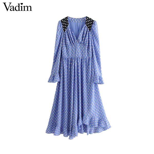 Vadim women star print ruffled maxi dress V neck long bell sleeve pleated vintage casual sweet long dresses vestidos QB030