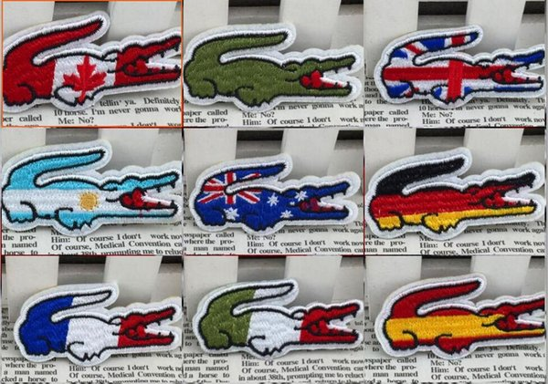 france flag UK flag Crocodile Flag of Netherland Embroidered Polska Patches for clothing Iron on Patch Eco-friendly Handmade 3D Appliqued