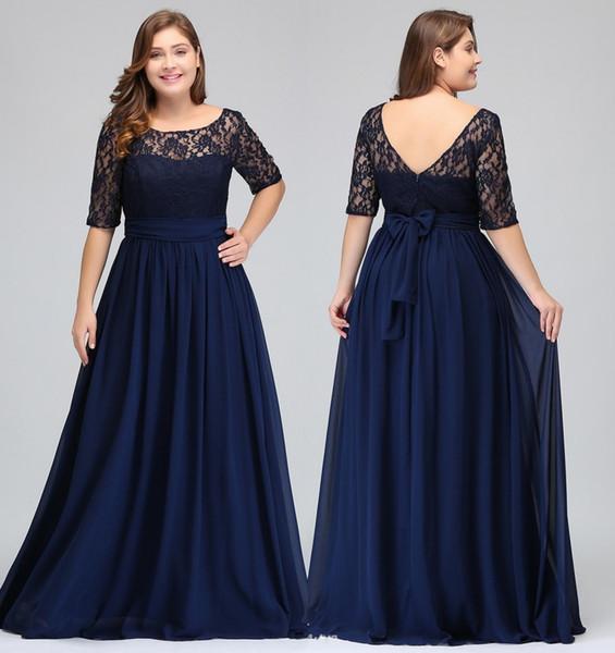 Dark Navy Black Burgund Halblange Ärmel Plus Size Abendkleider Lace Top A Line Chiffon V Zurück Mutter der Braut Kleider Kleider