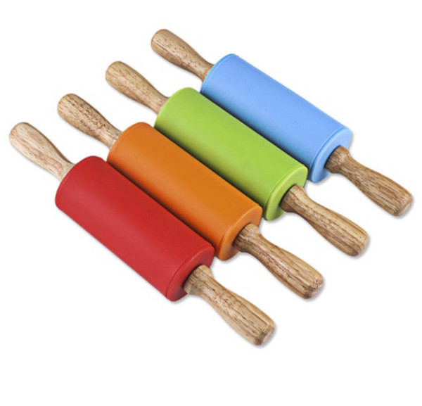 top popular Dough Pastry Roller Stick 23cm Wooden Handle Silicone Rolling Pin for Kids Baking Tools Kitchen Noodles Accessories 2020