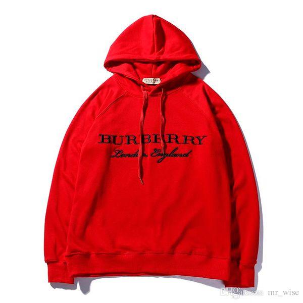 2019 Nouveau Design Rouge Noir Gris Hoodies Hommes Femmes Chaud Pull À Capuche Hoodies Adolescent Automne Broderie De Mode Minces Sweat-shirts Veste