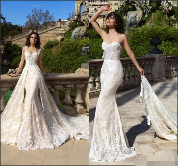 Discount 2018 Fishtail Lace Vestido De Novia Mermaid Wedding Dresses With Detachable Train Sweetheart Vintage Robe De Mariage Empire Line Wedding