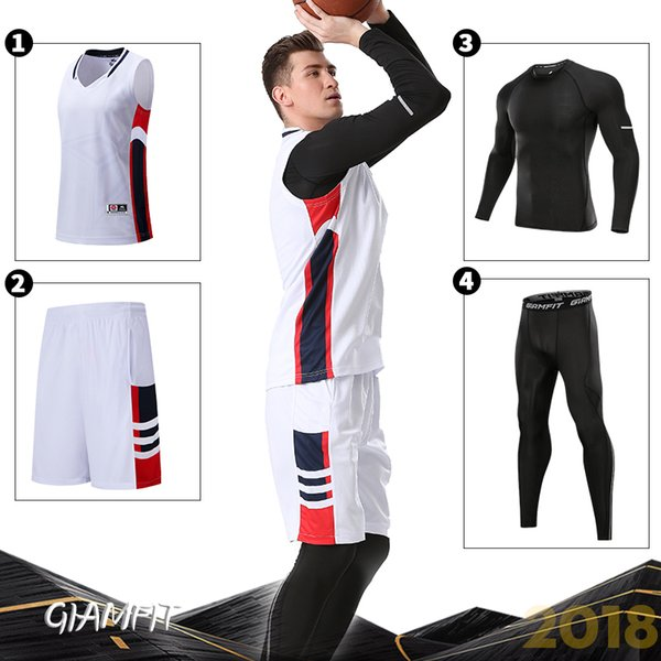 4 PCS/Set Adult Winter Basketball Jerseys with Compression Tights Shirts Gym Clothes Suit Sports Kits Breathable Fitness Workout C18122501
