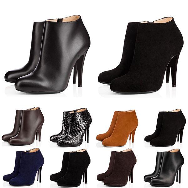 christian louboutin Com caixa de moda de luxo designer de mulheres botas de salto alto 8 cm 10 cm 12 cm preto castanha vermelha bottoms sapatos de couro bota de inverno
