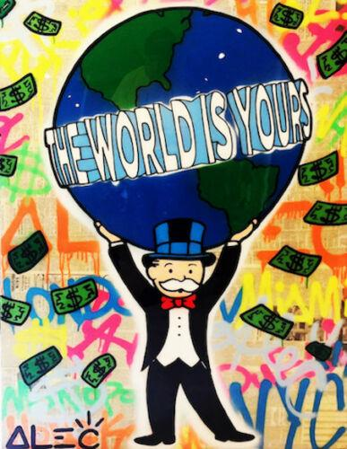 High Quality Alec Monopoly Handpainted & HD Print Abstract Graffiti Art Oil Painting The world is yours On Canvas Wall Art Home Decor