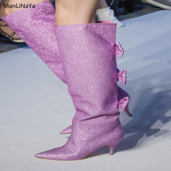 Pointed Toe Bow Tie Decor Women Boots Bling Butterfly-knot Slip on Female Knee-High Boots Brand Design Kitten Runway Woman Shoes