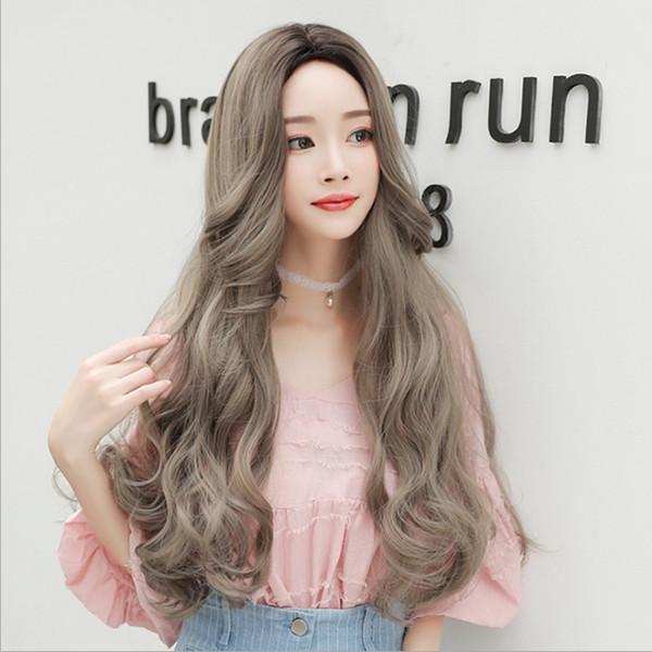 Новое моделирование волос женщины длинные вьющиеся волосы большая волна груша цветок разделить мода темперамент натуральных химических волокон волос