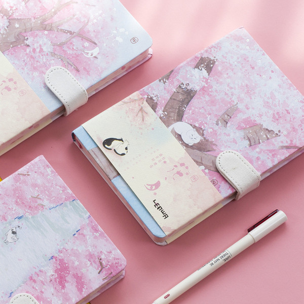 """sakura Cat"" Journal Diary Hard Cover Cute Journal Study Notebook Notepad Beautiful Stationery Gift"