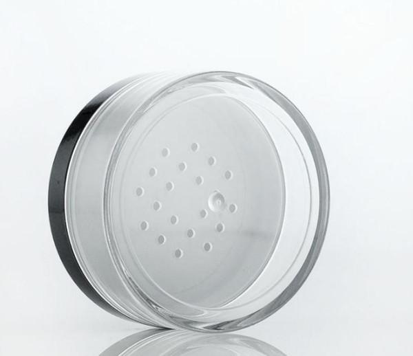 Оптовая 50 г пластиковых рассыпчатую пудру с сифтером 50 мл косметический крем контейнер черный матовый колпачок макияж компакт SN2760