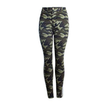 2019 womens cargo army green skinny jeans female camouflage side ribbon stitching pencil pants camo trousers k1003 thumbnail