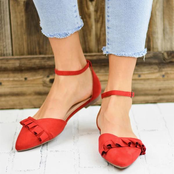 Mulheres Sandálias Flat Senhoras Moda Dedo Apontado Plana Sólida Mocassins Casuais Sapatos Únicos de Alta Qualidade Mulher Tira No Tornozelo Calçado