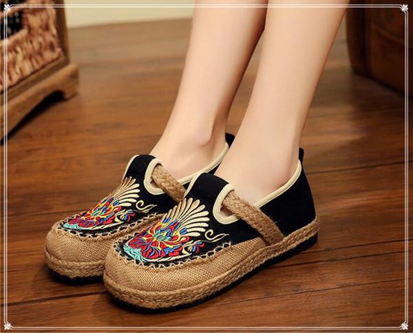 Hersteller Direktvertrieb von neuen ethnischen Stil bestickten Schuhen, runden Kopf faulen Schuhen, Studentin Freizeitschuhe