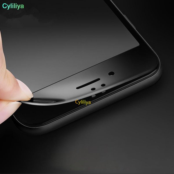 Parlak Karbon Fiber 3D Kavisli Kenar Temperli Cam Ekran Koruyucu Için iPhone 8 7 6 6 S Artı HD Temizle Temperli Cam DHL ile ambalaj