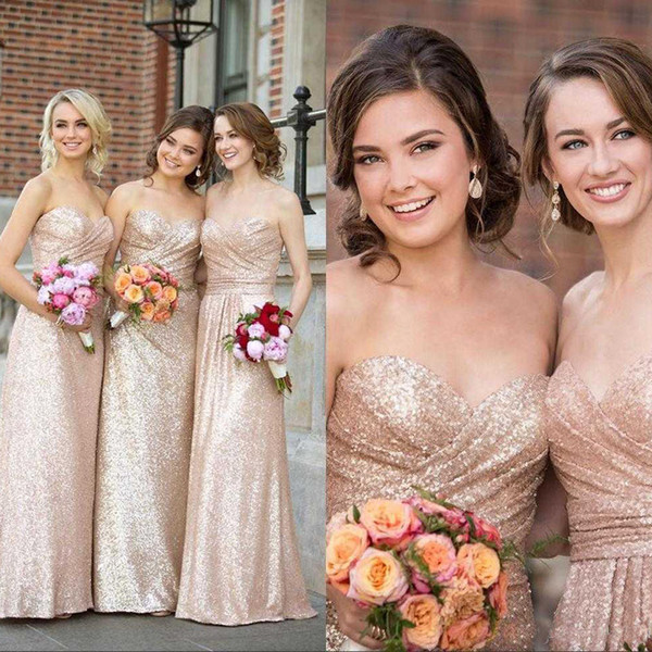 Cheap Sweetheart Sequin Bridesmaid Dresses Rose Gold A Line Party Dresses for Women Cheap Long Wedding Guest Gowns