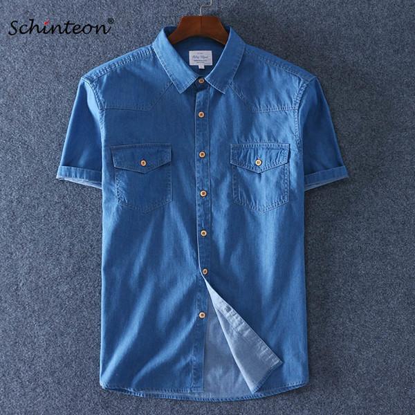 2018 Лето 100% хлопок для мужчин с коротким рукавом Джинсовая тонкая рубашка Мягкие тонкие джинсы Плюс размер Два передних кармана Y190417