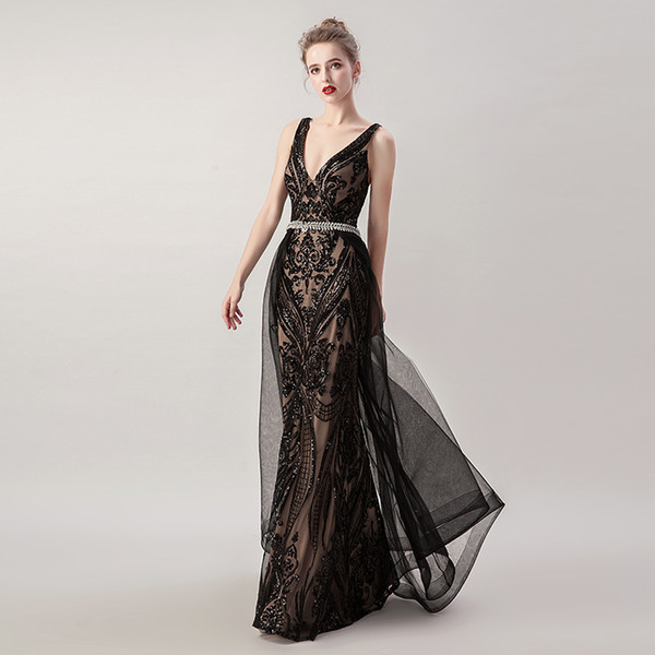 100% Real Picture Black Elegant Mermaid Deep V-Neck with Overskirt Prom  Dress Special Occasion Long Formal Evening Dresses Maxi Gown 5265