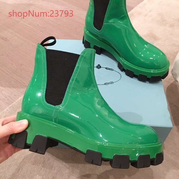 Nuevos zapatos de lujo deign 2019 botines de mujer tacones gruesos sin cordones y plataforma de charol zapatos de mujer verde