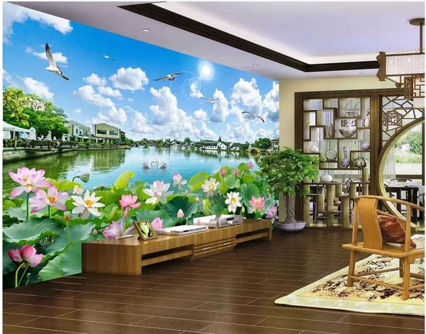 3d room wallpaer custom photo Beautiful landscape painting lotus flower in Chinese water town decor 3d wall murals wallpaper for walls 3d