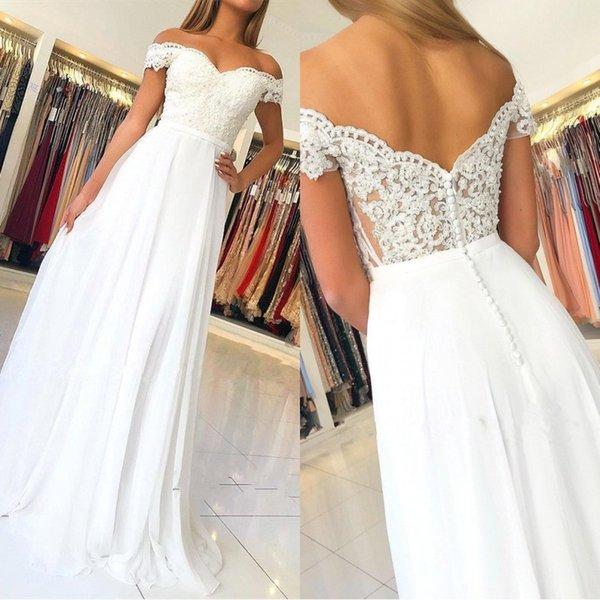 Elegant Off-the-Shoulder Long Evening Gowns 2019 Lace Appliques Prom Dress With Zipper Button Back Cheap Bridesmaid Gowns BC1141