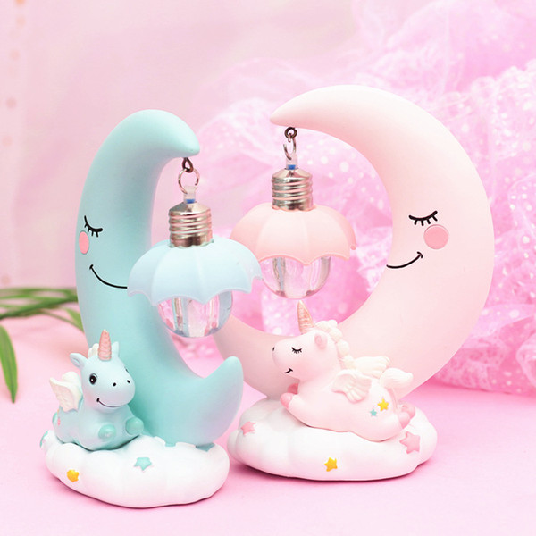 INS Unicorn Moon Ornaments Night Lights Kids Gifts Baby Girls Bedroom Home  Decor Small Table Desk Lamp Decorative Novelty Gifts For Children Novelty  ...
