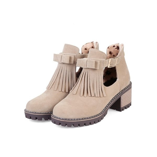 2019 Buckle Strap Ankle Boots For Women High (5cm-8cm) High Heel Platform Ankle Boots Fringe Casual Wedge Botas Feminina