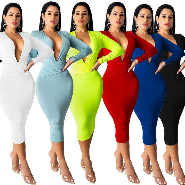 Varios vestidos Europea y atractivo de la manera americana del V-cuello del color sólido Multi manga larga vestido delgado