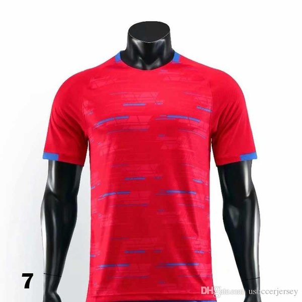 0007 2019 2021 T-shirt rouge Maillots de football Football Camiseta Hommes Enfants 20 21 Kit Uniformes Maillot