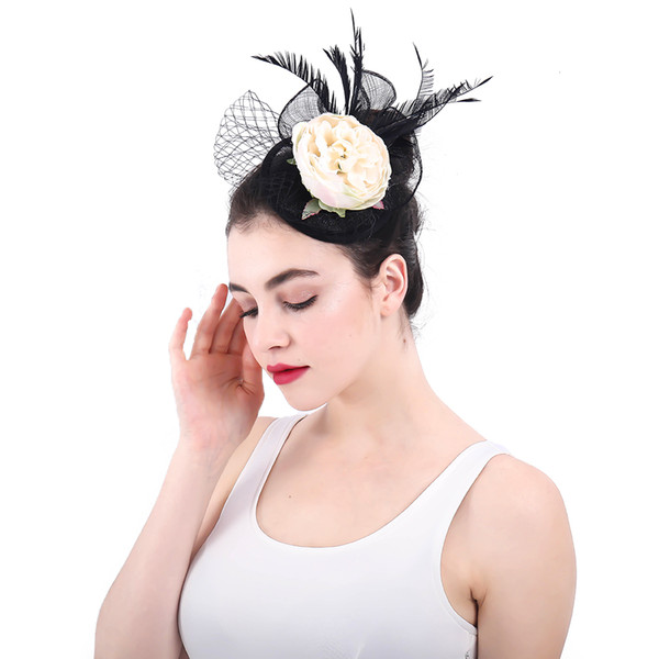 Vintage Handmade Small Wedding Hats for Bride Flowers Linen Feathers Bride Hat Women Party Hats accesorios de novia