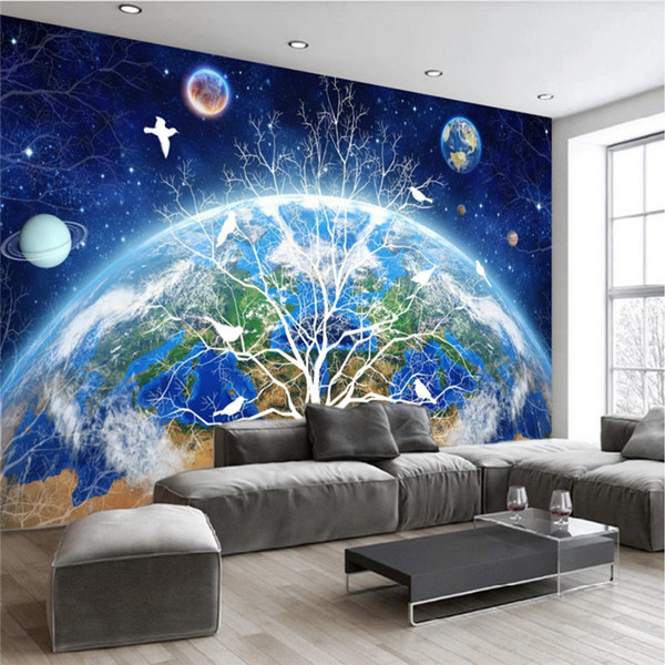 European Abstract Earth Starry Trees Blue Background Mural Wallpaper For Living Room Bedroom Walls 3d Wall Papers Home Decor Hd Wallpaper Pc Full Hd